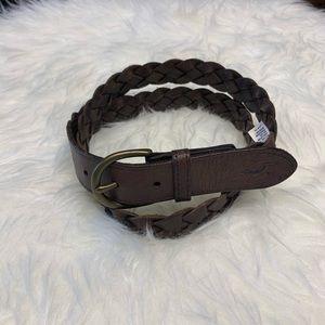 Hollister Brown Leather Braided Belt